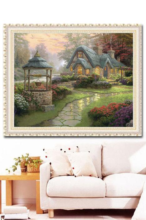 欧式小屋,欧式小房子,圆钻钻石绣,十字绣钻石画,风景小画