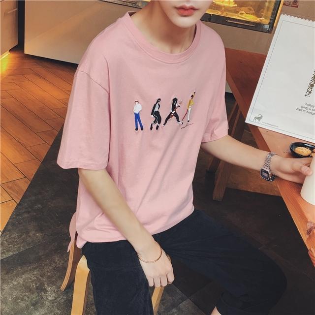 【2016夏季新款男士卡通乐队人物刺绣宽松短袖t恤潮