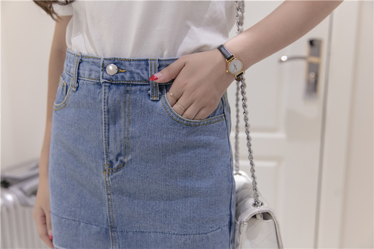 【拼接压线短裙毛边牛仔裙半身裙包臀裙】-衣服-半