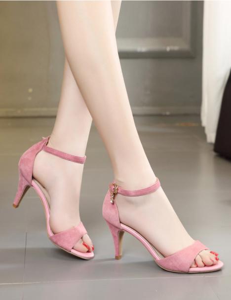 露趾一字扣中跟细跟凉鞋女 -鞋子 女鞋 凉鞋 服饰鞋包 全度专卖店 蘑菇