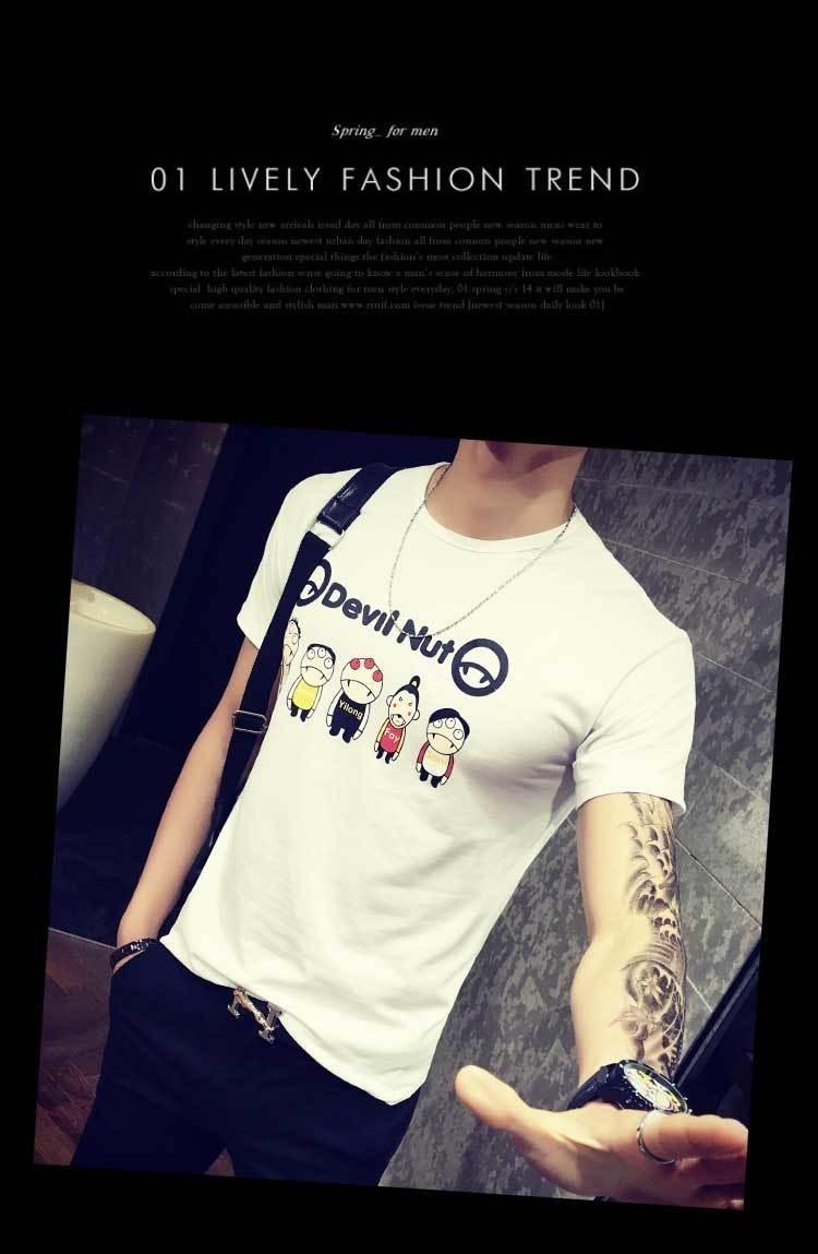 2016潮流卡通小人印花男生日系夏季新款男士青年体恤衫