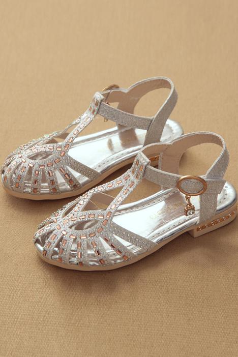2016夏季新款中大童韩版水钻公主鞋女童凉鞋学生女孩包头鞋图片