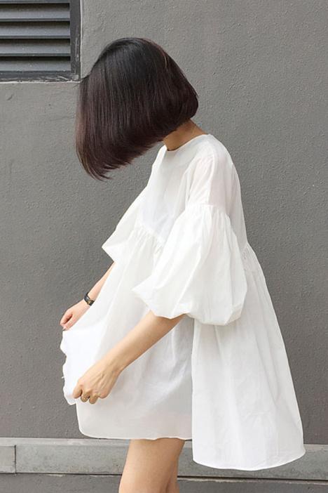 【u家】送吊带 韩范宽松娃娃款灯笼袖连衣裙小白裙