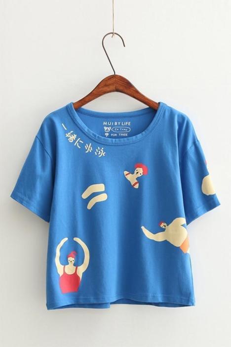 【日系新款手绘游泳跳绳印花宽松打底短袖t恤韩版